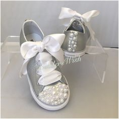 Metallic Leather Pearl Converse / kids converse / white converse/ unique sneakers / pearl chucks / bling converse