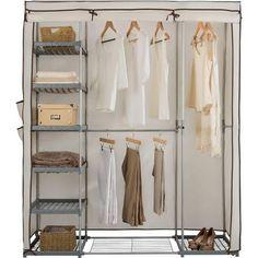 Energetic Triple Canvas Wardrobe Clothes Rack Shelves Hanging Rail Storage Cupboard-blue Furniture