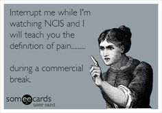 Interrupt me while I'm watching NCIS and I will teach you the definition of pain... during a commercial break. #ecards // NCIS. SO TRUE!!!!!!