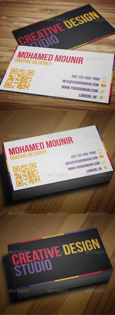 Creative Design Studio business card. Simple, clean, elegant design for your design business, suitable for freelancers. Colorful cool looking. Download it here http://graphicriver.net/item/creative-design-studio-business-card/3236963?ref=mmounirf