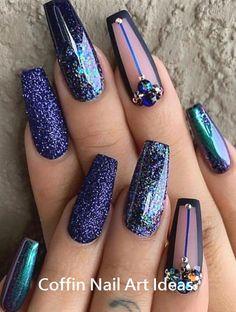 20 Trendy Coffin Nail Art Designs - The most beautiful nail designs Summer Acrylic Nails, Cute Acrylic Nails, Glitter Nails, Nail Art Designs, Short Nail Designs, Beautiful Nail Art, Gorgeous Nails, Stylish Nails, Trendy Nails