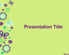 Butterflies PowerPoint Background for presentations with green background and butterfly illustration
