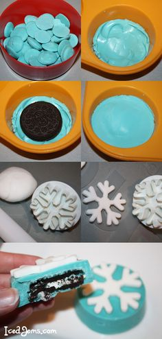 Frozen Oreos, but could do other things Frozen Fever Party, Frozen Birthday Party, Frozen Party Food, Elsa Birthday, Disney Frozen Party, 6th Birthday Parties, 4th Birthday, Birthday Ideas, Bolo Elsa