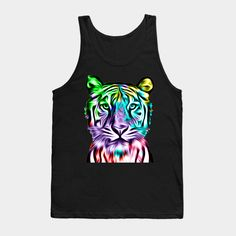 """Grab this awesome """"Colorful Tiger Head"""" design now, and show it off to your family and friends. Tiger Art, Tiger Head, T Shirt Time, Tshirts Online, Cool T Shirts, Colorful, Tank Tops, Friends, Awesome"""