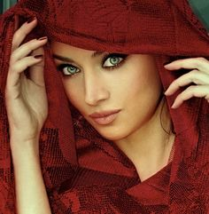 Claudia Lynx - Persian model with the red scarf veil and beautiful exotic bright green eyes.
