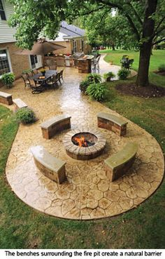 Backyard stone patio ideas - SHW Home Decor Hinterhof Stein Terrasse Ideen - SHW Home Decor Rustic Backyard, Fire Pit Backyard, Rustic Outdoor, Outdoor Fire, Outdoor Decor, Outdoor Living, Stone Patio Designs, Backyard Patio Designs, Backyard Landscaping