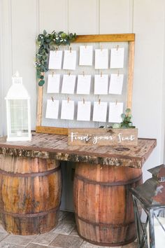 Rustic wooden escort card display: Photography: Amalie Orrange Photography - amalieorrangephotography.com Read More on SMP: http://www.stylemepretty.com/2017/02/28/we-should-all-follow-this-brides-simple-wedding-planning-advice/