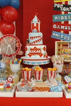 Sarah D's Birthday / Vintage Carnival - Photo Gallery at Catch My Party Vintage Circus Party, Circus Carnival Party, Carnival Birthday Parties, Circus Birthday, First Birthday Parties, Birthday Celebration, Birthday Party Themes, Vintage Carnival, Circus Theme