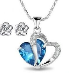 Rhodium Plated 925 Silver Diamond Accent Blue Opal Heart Shape Pendant Necklace 18 #Rhodium_Plated_Silver_Diamond_Accent_Heart #chains #necklaces# jewelry# accessories #rings #pendants