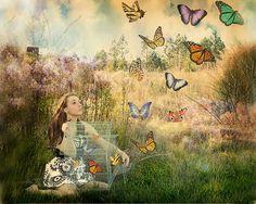 Self portrait    Dreamy fairy tale photography  Release of the butterflies