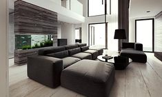 Fancy - Modern Sectional Sofa & Ottoman...i really like the fish tank wall behind the sofa