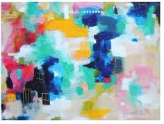 """House with the Picket Fence"" 24x30"" love on canvas. Abstract expressionist painting. Amira Rahim"