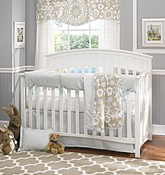 Powder Blue Baby Bedding Set by Liz and Roo, Made in America. Linen, white, Powder Blue Suzani and Houndstooth baby bedding with rail cover.  No bumper.