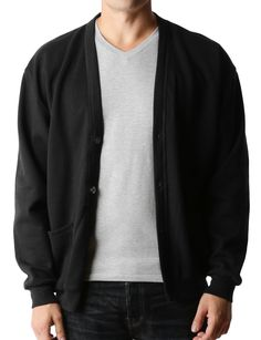 LE3NO PREMIUM Mens Oversized Soft Knit V Neck Cardigan Sweater