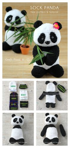Sock Panda Softie Free Sewing Pattern Source by Diy Sock Toys, Sock Crafts, Fun Diy Crafts, Crafts With Socks, Diy Plush Toys, Diy Toys, Sewing Patterns Free, Free Sewing, Pattern Sewing