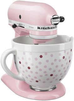 For a colorful twist, try this ceramic bowl with your KitchenAid mixer. fun polka dot design