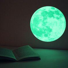 CLAIR DE LUNE moonlight wall-sticker -Medium (glow-in-the-dark sticker). $27.00, via Etsy.