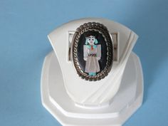 Zuni Corn Maiden Signed Sterling Silver Turquoise Ring,Oyster Shell by pasttimejewelry on Etsy