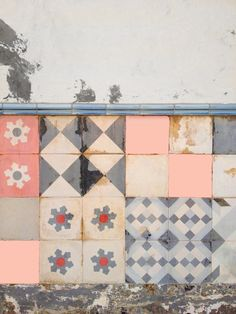 Gorgeous vintage look pink and grey palette - and love the mismatching shapes and patterns