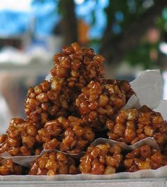 Mexico City street candy: Muéganos are fried-dough balls, stuck together with piloncillo syrup.
