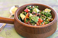 Kale, Quinoa, Black Bean Salad with a Cumin Lemon Vinaigrette. Healthy and delicious! Add in avocado just before you serve.