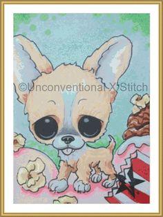 Corgi dog cross stitch pattern - Licensed Sugar Fueled by UnconventionalX on Etsy