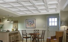 Coffered Ceiling Panels | Armstrong Easy Elegance. Using both drywall and suspended ceiling.
