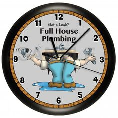 Plumbers will love this comical clock...
