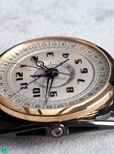 The more aggressively styled  De Bethune DB28 MaxiChrono with articulating lugs.  Note the beauty of the 5 hands, all coaxially mounted from the center of the dial. Note also that the dial is a complicated, multi level,, multi curved surface to maximise legibility. The chronograph measures up to a maximum of 23 hours, 59 mins, 59.9 seconds.