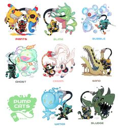Credit to: T-boyのフレンズ Adorable and pokemon esque but WAY cuter Game Character Design, Character Design Inspiration, Character Concept, Character Art, Monster Design, Creature Concept, Creature Design, Cartoon Art, Cartoon Monsters