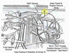 engine bay schematic showing major electrical ground 1995 ford truck engine