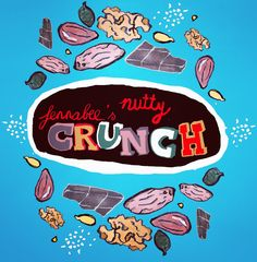 Watercolour and digital crunch nuts package illustration. Colourful. Vivid colors. More: Www.fenna.be