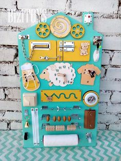 Sensory board Busy board Montessori toy Wooden toy Latch board Educational toddler gift wooden toy Get the perfect kids toys for your youngsters Diy Sensory Board, Baby Sensory, Sensory Toys, Sensory Wall, Diy Busy Board, Busy Board Baby, Babysitting Activities, Infant Activities, Toddler Activity Board