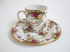"Royal Albert Old Country Roses ""Ruby Celebration"" Pattern Mug and Saucer  -"