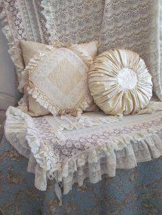 Angela Lace: Cream and Beige Cushions