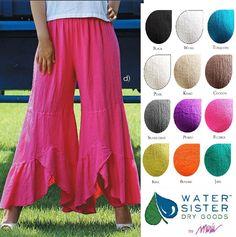 WATERSISTER Cotton Gauze WAVY 2-Layer Tier Pant 1(S/M) 2(L/XL)3(1X+) 2016 COLORS | Clothing, Shoes & Accessories, Women's Clothing, Pants | eBay!