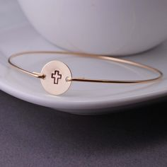Christian Jewelry Gold Cross Hand Stamped Bangle Bracelets