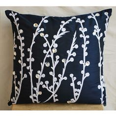 Decorative Throw Pillow Covers Accent Pillow Couch Pillow 16 Inch Silk Pillow Cover Embroidered Navy Blue Willow Home Living Decor