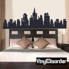 Gotham City Batman City Skyline Buildings Vinyl Wall Decal - Superhero vinyl wall decals