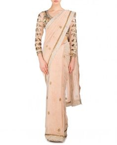 Blush Peach Sari with Embellished Leafy Motifs