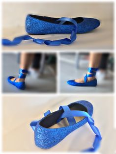 Sparkly Royal Blue Glitter Ballet Flats shoes wedding bride Womens Satin Tie up Bow - Glitter Shoe Co