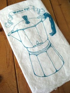 Tea Towel  Screen Printed Organic Cotton Wake Up by ohlittlerabbit, $10.00