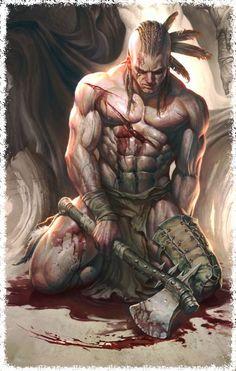 m Barbarian Axe Wounded Wilderness story Gardreyd lg Fantasy Warrior, Dark Fantasy Art, Fantasy Artwork, Native American Tattoos, Native American Artwork, Warrior Tattoos, Vikings, Deviant Art, Native Art