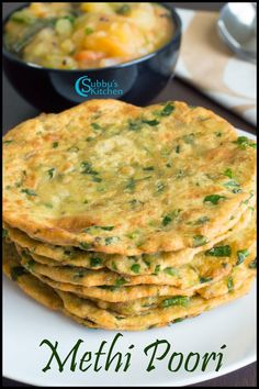 Methi Puri / Poori Recipe | Vendhaya Keerai Puri / Poori Recipe Puri Recipes, Paratha Recipes, Raw Food Recipes, Indian Food Recipes, Vegetarian Recipes, Cooking Recipes, Healthy Recipes, Gujarati Recipes, Vegetarian Lunch