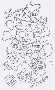 26 Best Laugh Now Cry Later Skull Tattoo Designs Images Design