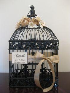 Black Bird Cage Wedding Card Holder Vintage by SouthburyTreasures, $58.00