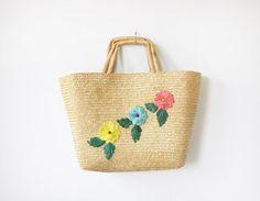 vintage raffia bag / raffia straw bag / farmers by RustBeltThreads, $28.00