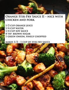 Orange Stir Fry Sauce- just made this :) really easy and yummy! Just added a little sesame oil for fun! If you like a thicker sauce, add cornstarch. Asian Recipes, New Recipes, Dinner Recipes, Cooking Recipes, Favorite Recipes, Healthy Recipes, Sauce Recipes, Chicken Recipes, Sauces