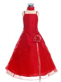 Red Caviar Embroidered Organza Flower Girl Dress (Sizes 4-18 in 11 Colors)