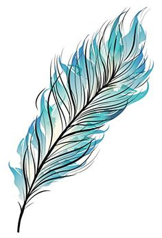 Blue Feather Temporary Tattoo - Set of Our Bohemian Blue Watercolor Feather temporary tattoos is the perfect accessory for your next concert, party, or just because. Feather Drawing, Feather Painting, Feather Art, Blue Feather, Feather Sketch, Tattoo Plume, Tattoo Feather, Watercolor Feather Tattoos, Lace Tattoo